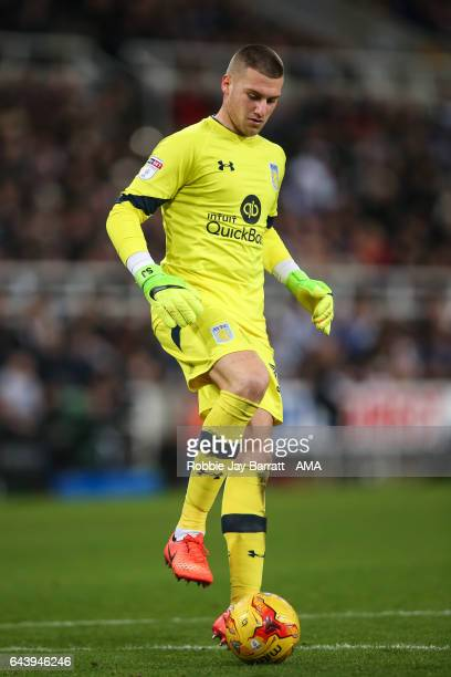 Sam Johnstone of Aston Villa during the Sky Bet Championship match between Newcastle United and Aston Villa at St James' Park on February 20 2017 in...
