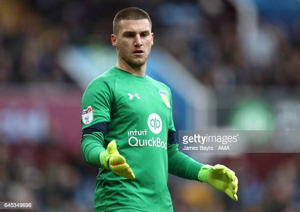 Sam Johnstone of Aston Villa during the Sky Bet Championship match between Aston Villa and Derby County at Villa Park on February 25 2017 in...