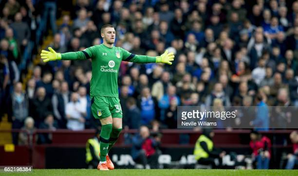 Sam Johnstone of Aston Villa during the Sky Bet Championship match between Aston Villa and Sheffield Wednesday at Villa Park on March 11 2017 in...