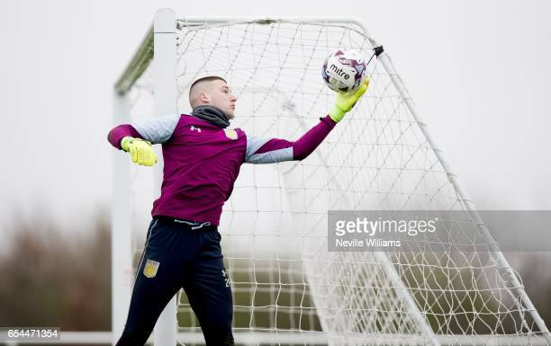 Sam Johnstone of Aston Villa in action during a training session at the club's training ground at Bodymoor Heath on March 17 2017 in Birmingham...