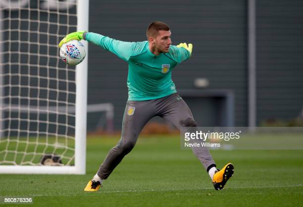 Sam Johnstone of Aston Villa in action during a training session at the club's training ground at Bodymoor Heath on October 13 2017 in Birmingham...