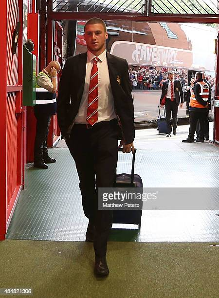 Sam Johnstone of Manchester United arrives ahead of the Barclays Premier League match between Manchester United and Newcastle United at Old Trafford...
