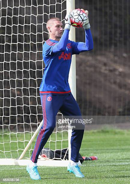 Sam Johnstone of Manchester United in action during a first team training session at Aon Training Complex on August 5 2015 in Manchester England