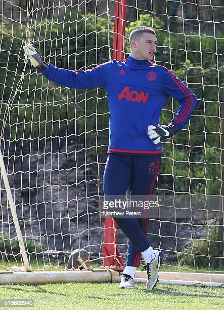Sam Johnstone of Manchester United in action during a first team training session at Aon Training Complex on April 8 2016 in Manchester England