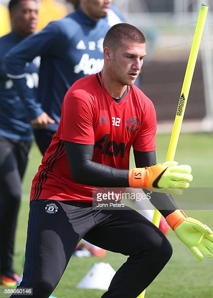 Sam Johnstone of Manchester United in action during a first team training session at Aon Training Complex on August 12 2016 in Manchester England