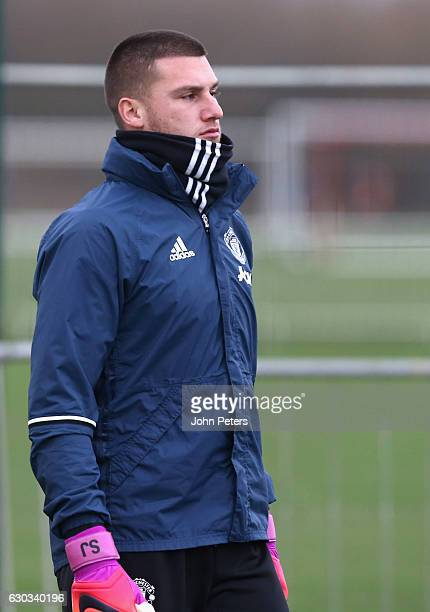 Sam Johnstone of Manchester United in action during a first team training session at Aon Training Complex on December 21 2016 in Manchester England