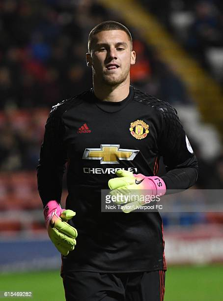 Sam Johnstone of Manchester United in action during the Premier League 2 match between Manchester United and Liverpool at Leigh Sports Village on...