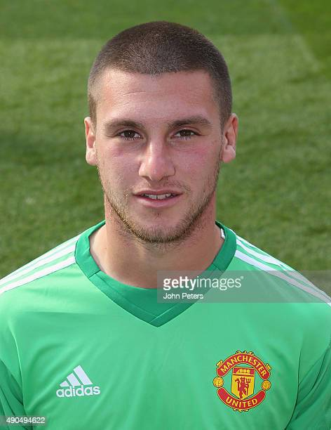 Sam Johnstone of Manchester United poses during the club's annual photocall at Old Trafford on September 28 2015 in Manchester England