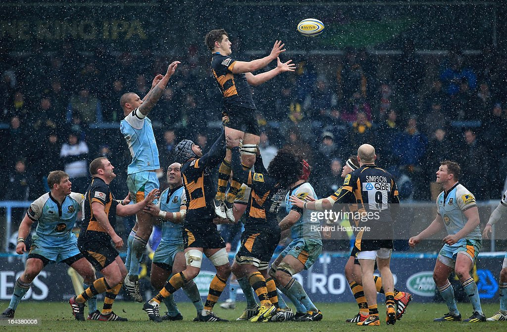 Sam Jones of London Wasps rises to claim the ball during the Aviva Premiership match between London Wasps and Northampton Saints at Adams Park on March 23, 2013 in High Wycombe, England.