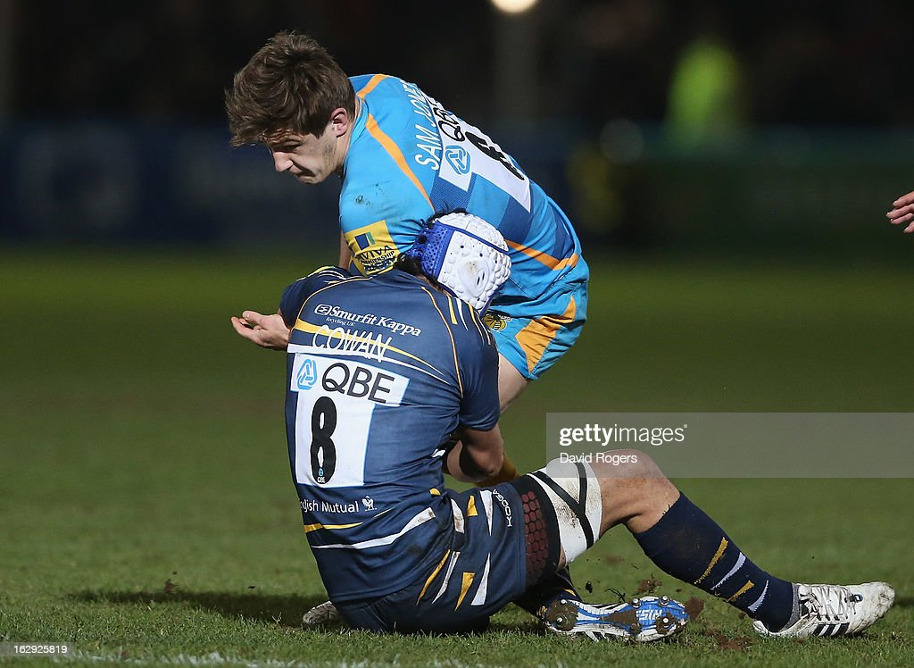 Sam Jones of Wasps is tackled by Blair Cowan during the Aviva Premiership match between Worcester Warriors and London Wasps at Sixways Stadium on March 1, 2013 in Worcester, England.