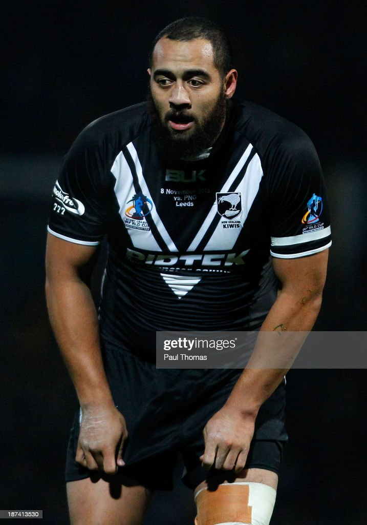 Sam Kasiano of New Zealand watches on during the Rugby League World Cup Group B match at Headingley Stadium on November 8, 2013 in Leeds, England.