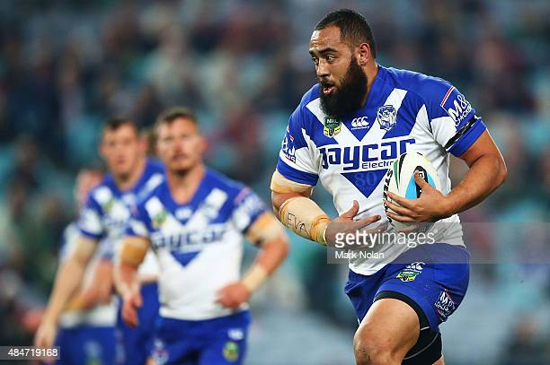 Sam Kasiano of the Bulldogs in action during the round 24 NRL match between the South Sydney Rabbitohs and the Canterbury Bulldogs at ANZ Stadium on...
