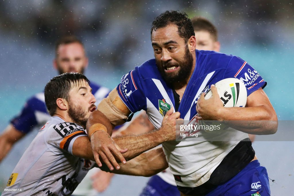 Sam Kasiano of the Bulldogs is tackled during the round five NRL match between the Canterbury Bulldogs and the Brisbane Broncos at ANZ Stadium on March 30, 2017 in Sydney, Australia.