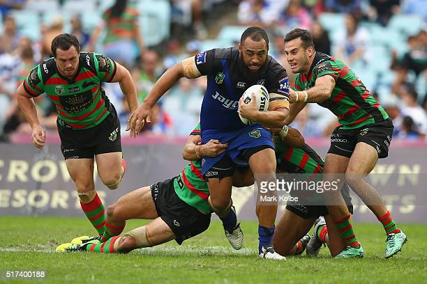 Sam Kasiano of the Bulldogs is tackled during the round four NRL match between the South Sydney Rabbitohs and the Canterbury Bulldogs at ANZ Stadium...