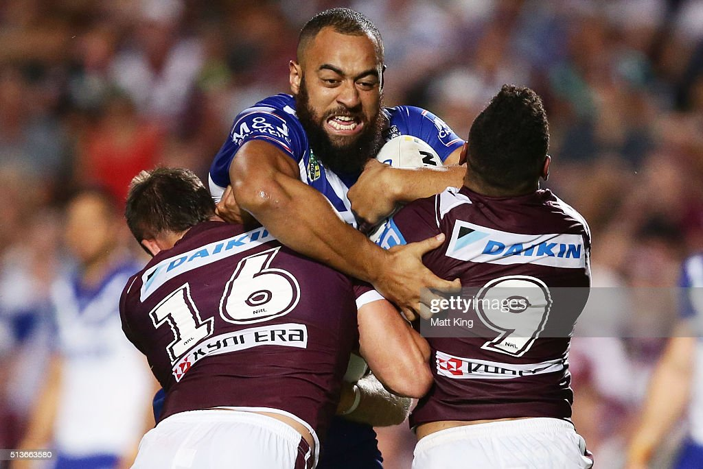 Sam Kasiano of the Bulldogs is tackled during the round one NRL match between the Manly Warringah Sea Eagles and the Canterbury Bulldogs at Brookvale...
