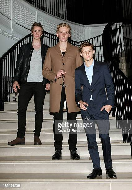 Sam Keeley Edward Ashley and Breakthrough Brit Tom Holland attend the BAFTA 'Breakthrough Brits' event at Burberry 121 Regent Street London on...