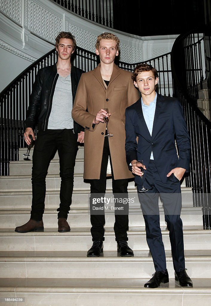 Sam Keeley, Edward Ashley and Breakthrough Brit Tom Holland attend the BAFTA 'Breakthrough Brits' event at Burberry 121 Regent Street, London on October 21, 2013 in London, United Kingdom.