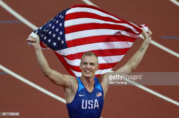 Sam Kendricks of the United States gold celebrates after winning the Men's Pole Vault final during day five of the 16th IAAF World Athletics...