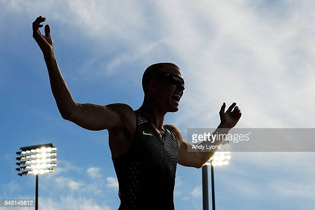 Sam Kendricks reacts to breaking a meet record his way to placing first in the Men's Pole Vault Final during the 2016 US Olympic Track Field Team...