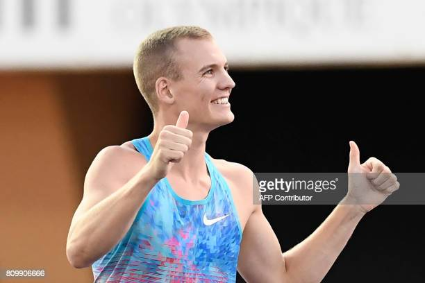US Sam Kendricks recats after winning the pole vault men event during the Diamond League athletics meeting Athletissima in Lausanne on July 6 2017 /...