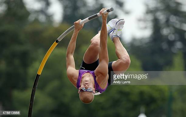 Sam Kendricks vaults to victory in the Mens Pole Vault during day three of the 2015 USA Outdoor Track Field Championships at Hayward Field on June 27...