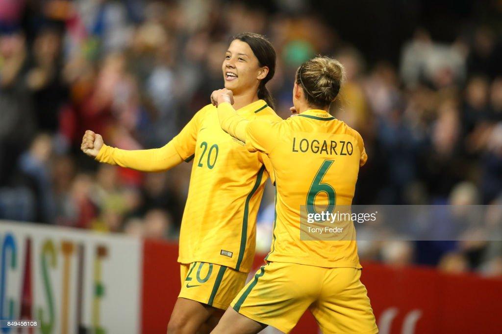 Sam Kerr and Chloe Logarzo of the Matildas celebrate a goal during the Women's International match between the Australian Matildas and Brazil at McDonald Jones Stadium on September 19, 2017 in Newcastle, Australia.