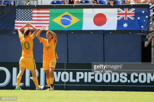 Sam Kerr is congratulated by Emily van Egmond of Australia after scoring a goal against Japan during the first half of a match in the 2017 Tournament...