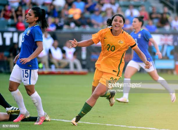Sam Kerr of Australia celebrates her goal as she turns from Leticia of Brazil to take a 61 lead during the 2017 Tournament Of Nations at StubHub...