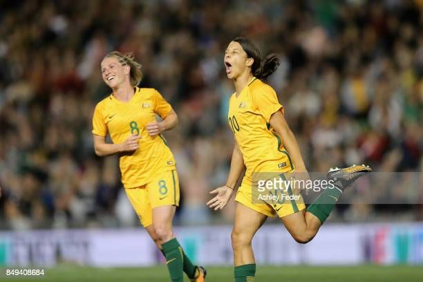 Sam Kerr of Australia celebrates her goal during the Women's International match between the Australian Matildas and Brazil at McDonald Jones Stadium...