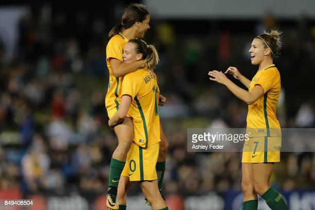 Sam Kerr of Australia celebrates her goal with Emily Van Egmond during the Women's International match between the Australian Matildas and Brazil at...