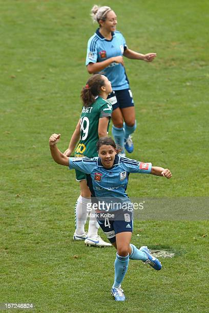 Sam Kerr of Sydney FC celebrates scoring a goal during the round seven WLeague match between Sydney FC and Canberra United at Leichhardt Oval on...