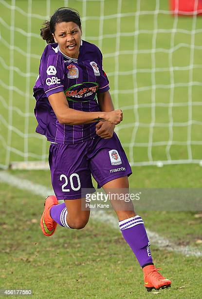 Sam Kerr of the Glory celebrates a goal during the round three WLeague match between the Perth Glory and Adelaide United at Ashfield Sports Club on...