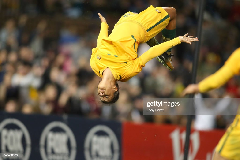 Sam Kerr of the Matildas celebrates a goal during the Women's International match between the Australian Matildas and Brazil at McDonald Jones Stadium on September 19, 2017 in Newcastle, Australia.