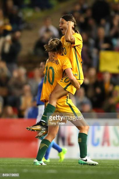 Sam Kerr of the Matildas celebrates a goal with team mate Emily Van Egmond during the Women's International match between the Australian Matildas and...