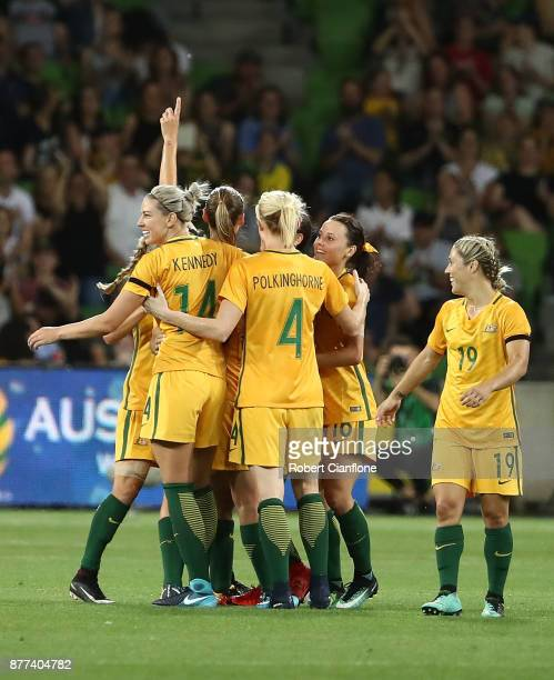Sam Kerr of the Matildas celebrates after scoring a goal during the Women's International match between the Australian Matildas and China PR at AAMI...