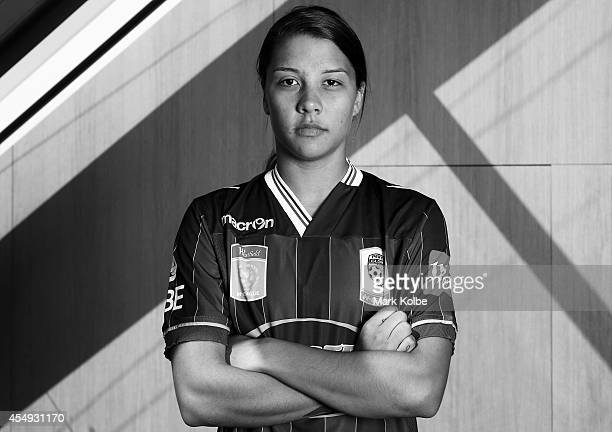 Sam Kerr of the Perth Glory poses during the WLeague season launch at the Westfield Offices on September 8 2014 in Sydney Australia