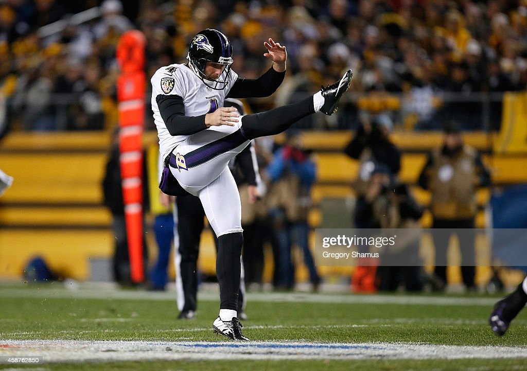 <a gi-track='captionPersonalityLinkClicked' href=/galleries/search?phrase=Sam+Koch&family=editorial&specificpeople=2106602 ng-click='$event.stopPropagation()'>Sam Koch</a> #4 of the Baltimore Ravens punts during the game against the Pittsburgh Steelers at Heinz Field on November 2, 2014 in Pittsburgh, Pennsylvania.