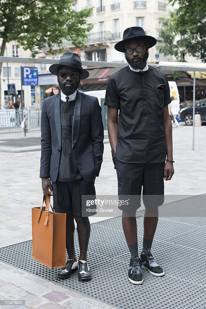 Sam Lambert and Artist Shakah Maidoh wearing clothing by Art comes first on day 3 of Paris Collections: Men on June 28, 2013 in Paris, France.