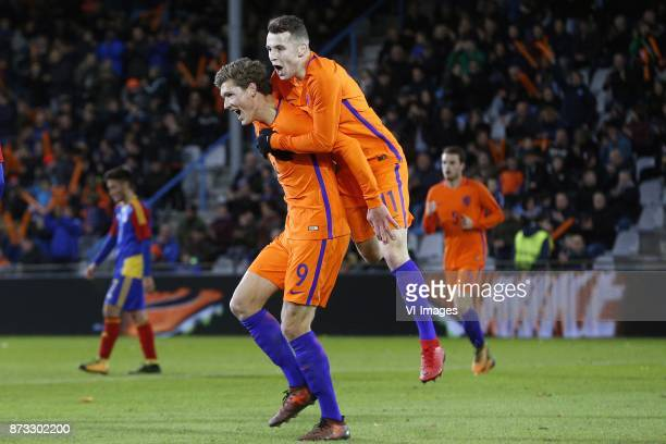Sam Lammers of Jong Oranje Oussama Idrissi of Jong Oranje during the EURO U21 2017 qualifying match between Netherlands U21 and Andorra U21 at the...