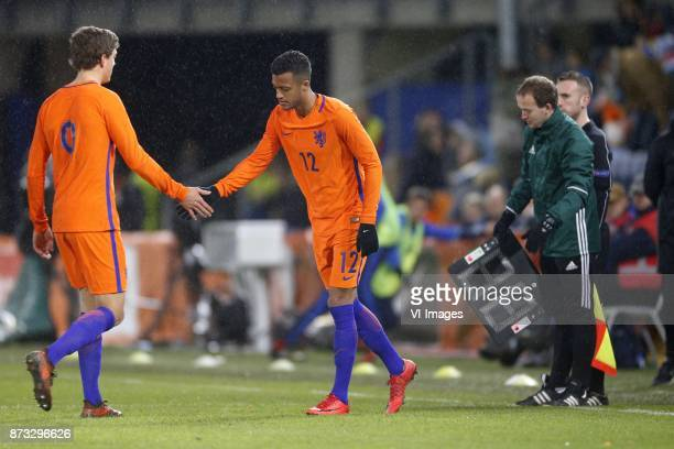 Sam Lammers of Jong Oranje Richairo Zivkovic of Jong Oranje during the EURO U21 2017 qualifying match between Netherlands U21 and Andorra U21 at the...