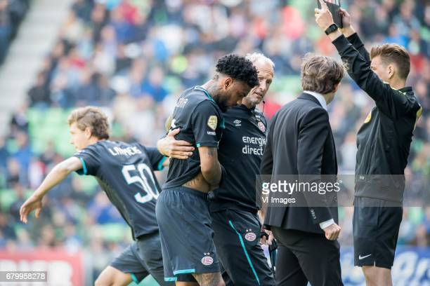 Sam Lammers of PSV Jurgen Locadia of PSVduring the Dutch Eredivisie match between FC Groningen and PSV Eindhoven at Noordlease stadium on May 07 2017...