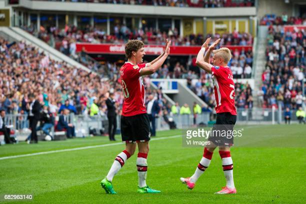 Sam Lammers of PSV Oleksandr Zinchenko of PSVduring the Dutch Eredivisie match between PSV Eindhoven and PEC Zwolle at the Phillips stadium on May 14...