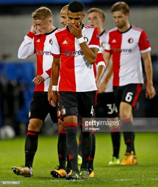 Sam Larsson Jeremiah st Juste of Feyenoord after 04 defeat against Manchester City during the UEFA Champions League group F match between Feyenoord...