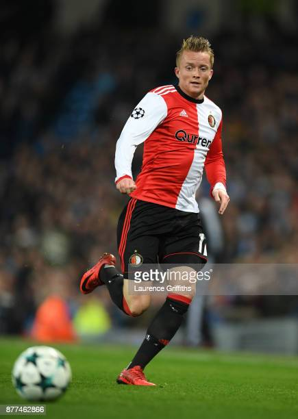 Sam Larsson of Feyenoord in action during the UEFA Champions League group F match between Manchester City and Feyenoord at Etihad Stadium on November...