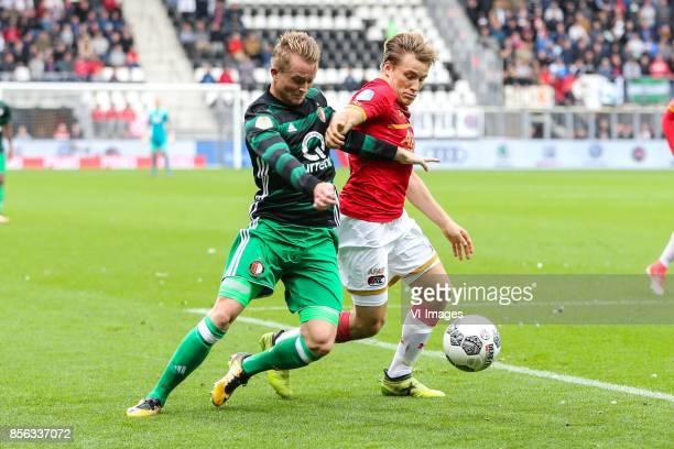 Sam Larsson of Feyenoord Jonas Svensson of AZ during the Dutch Eredivisie match between AZ Alkmaar and Feyenoord Rotterdam at AFAS stadium on October...