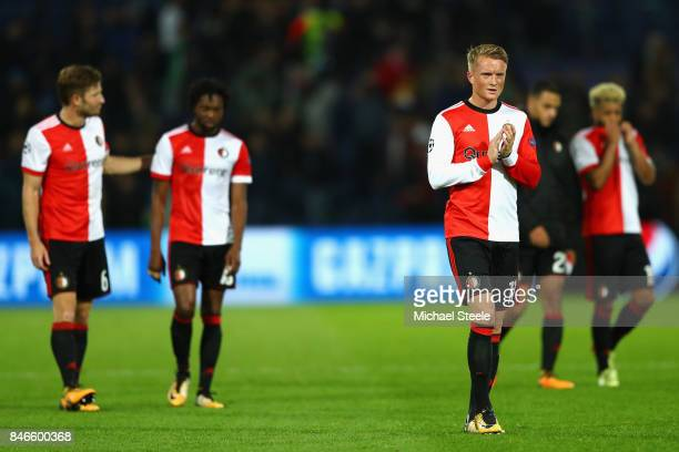 Sam Larsson of Feyenoord shows appreciation to the crowd during the UEFA Champions League group F match between Feyenoord and Manchester City at...