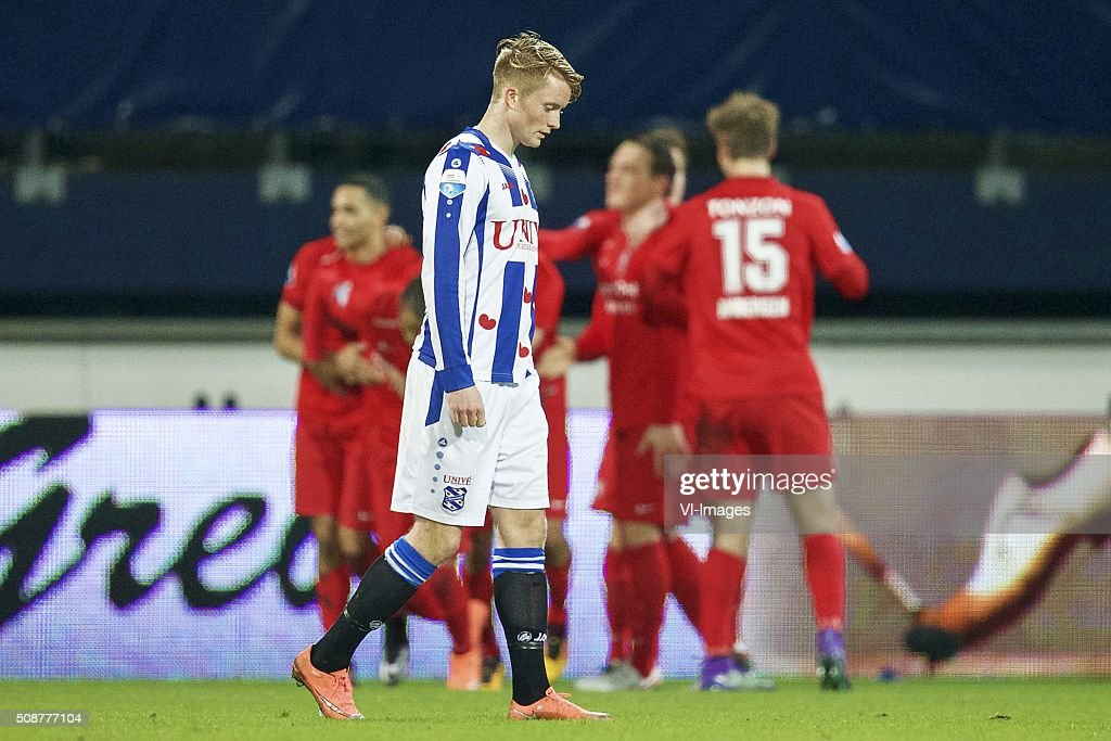 Sam Larsson of sc Heerenveen during the Dutch Eredivisie match between sc Heerenveen and FC Twente at Abe Lenstra Stadium on February 06, 2016 in Heerenveen, The Netherlands