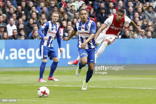 Sam Larsson of sc Heerenveen Lucas Bijker of sc Heerenveen David Neres of Ajaxduring the Dutch Eredivisie match between Ajax Amsterdam and sc...