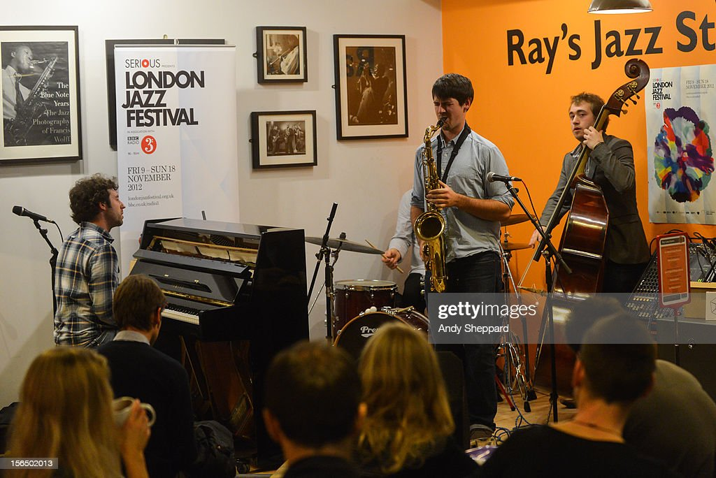 Sam Leak Quartet Aquarium perform at Ray's Jazz, Foyles Bookshop Cafe during the London Jazz Festival 2012 on November 13, 2012 in London, United Kingdom.