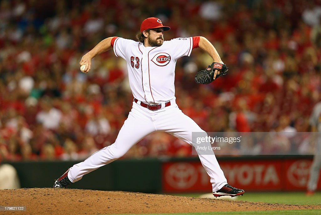 <a gi-track='captionPersonalityLinkClicked' href=/galleries/search?phrase=Sam+LeCure&family=editorial&specificpeople=5745610 ng-click='$event.stopPropagation()'>Sam LeCure</a> #53 of the Cincinnati Reds throws a pitch during the game against the St. Louis Cardinals at Great American Ball Park on September 5, 2013 in Cincinnati, Ohio.